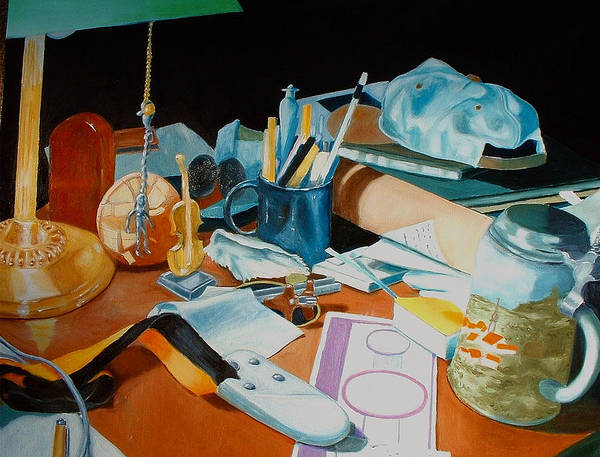 Still Life Art Print featuring the painting My Desk by Michael Henderson
