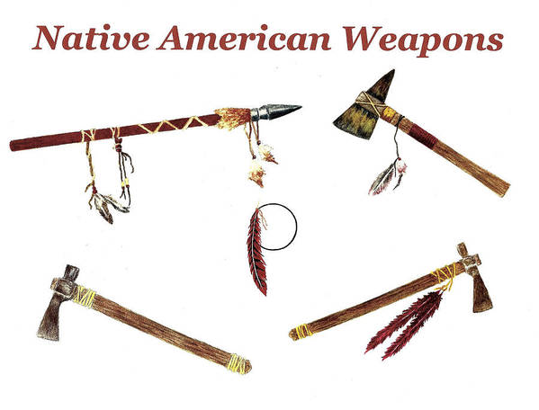 native american weapons art print by michael vigliotti