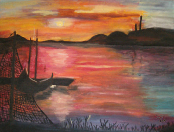 Seascape Art Print featuring the painting Natures Glory by Mikki Alhart