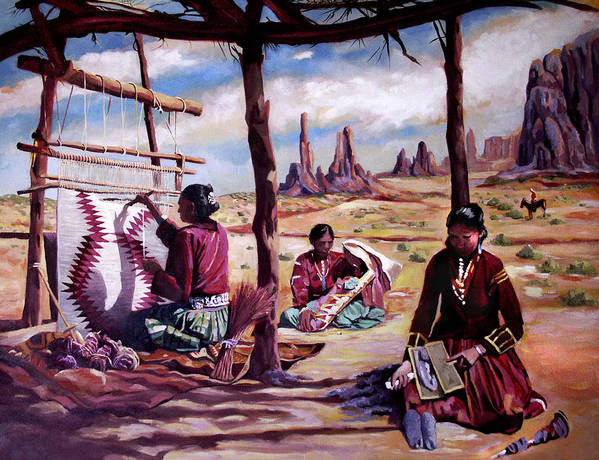 Native American Art Print featuring the painting Navajo Weavers by Nancy Griswold