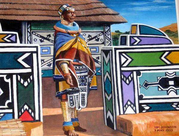Ndebele Art Print featuring the painting Ndebele Color by Tim Johnson