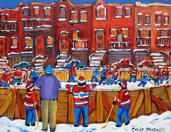 Hockeygame At The Neighborhood Rink Art Print featuring the painting Neighborhood Hockey Rink by Carole Spandau