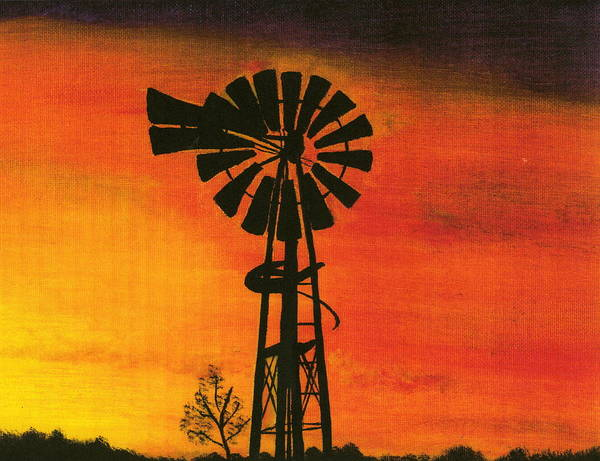 Windmill Desert Sunset Art Print featuring the painting New Mexico Sunset by Terri Warner
