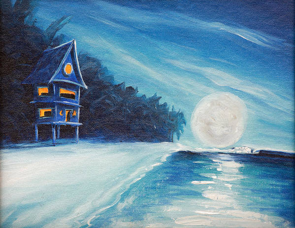 Surf Art Print featuring the painting Night Life by Ronnie Jackson