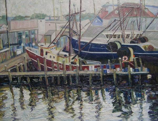 Boats Art Print featuring the painting Nova Scotia Boats At Rest by Richard Nowak