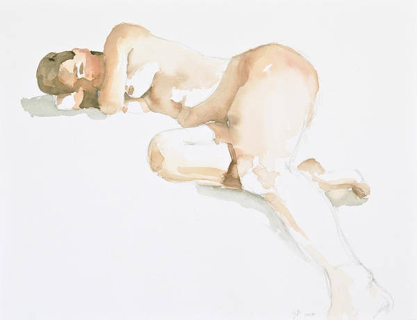 Nude Woman Art Print featuring the painting Nude by Eugenia Picado