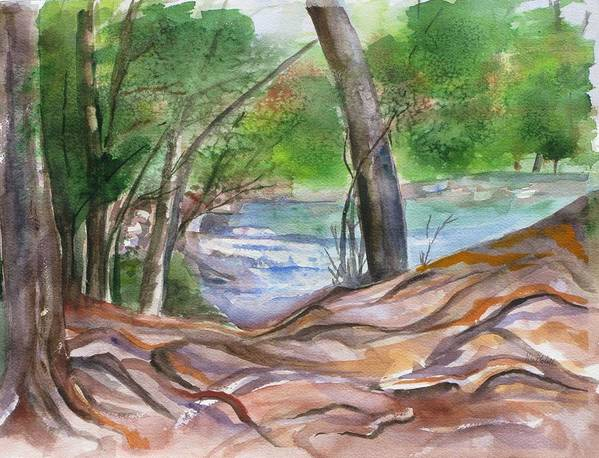 Landscape With Trees Art Print featuring the painting Oak Creek In Sedona by Kathy Mitchell