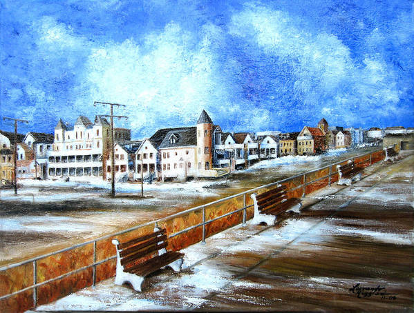New Jersey Art Print featuring the painting Ocean Grove by Leonardo Ruggieri