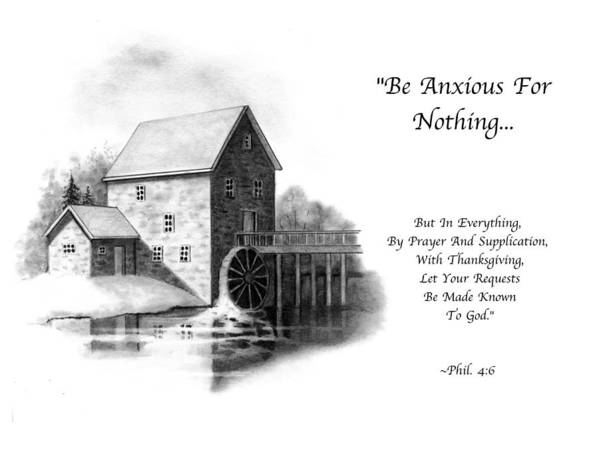 Bible Art Print featuring the drawing Old Mill In Pencil With Bible Verse by Joyce Geleynse