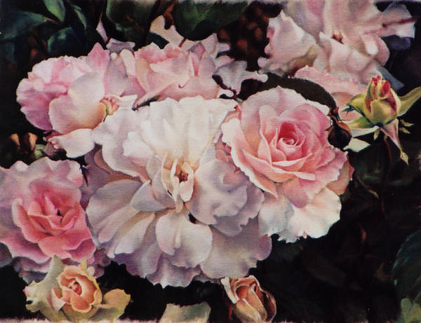 Flowers Art Print featuring the painting Old Roses by Marion Hylton