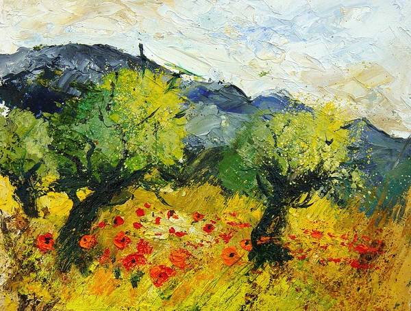 Flowers Art Print featuring the painting Olive Trees And Poppies by Pol Ledent