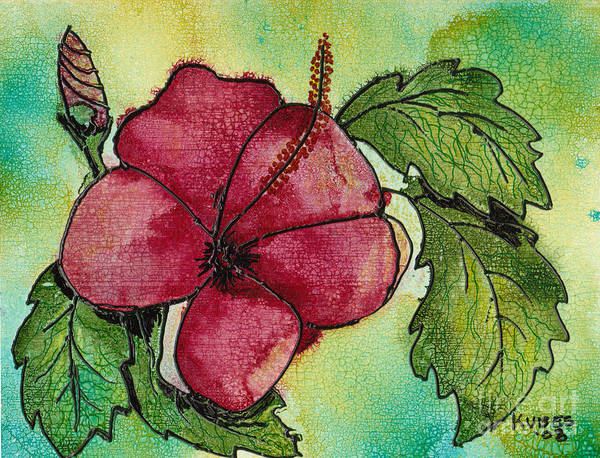 Flower Art Print featuring the painting One Pink Hibiscus by Susan Kubes