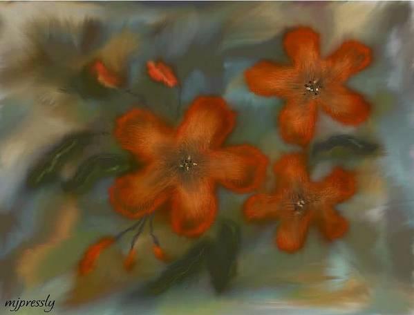 Flowers Art Print featuring the digital art Orange Flowers by June Pressly