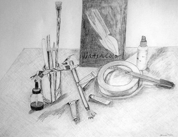 Pencil Art Print featuring the drawing Painting Supplies by Jamie Frier