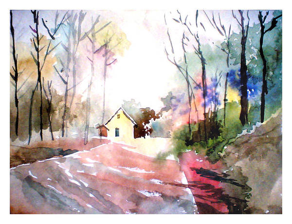 Nature Art Print featuring the painting Path In Colors by Anil Nene