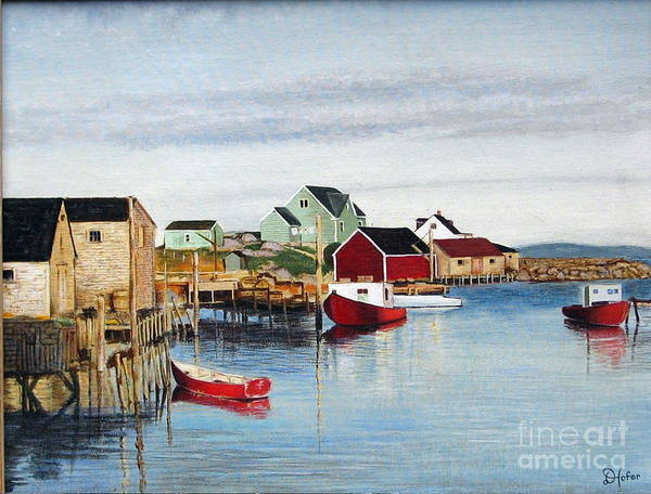 Seascape Art Print featuring the painting Peggy's Cove by Donald Hofer