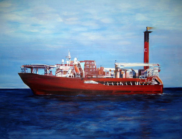 Ship Art Print featuring the painting Petrojarl Banff by Fiona Jack