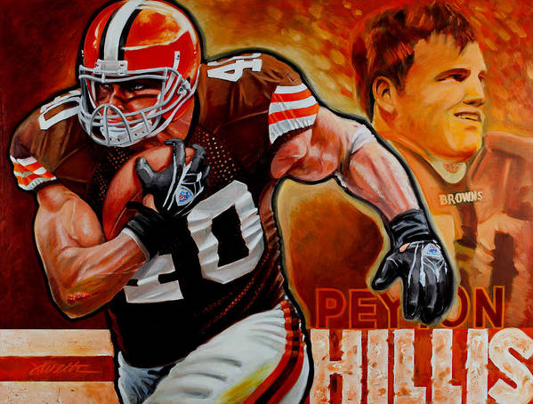 Football Print featuring the painting Peyton Hillis by Jim Wetherington