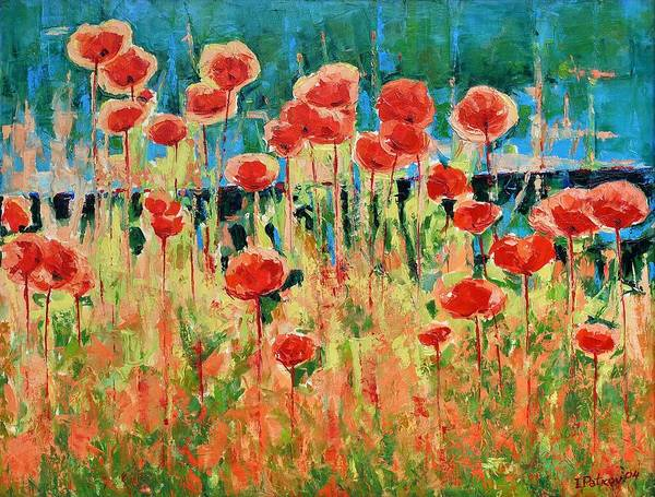 Poppies Art Print featuring the painting Poppies And Traverses 2 by Iliyan Bozhanov