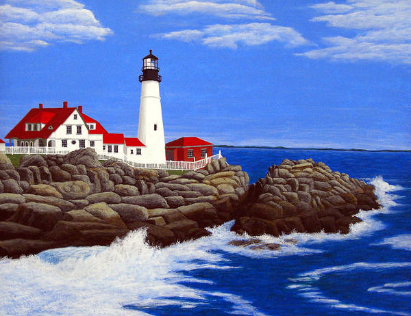 Art Art Print featuring the painting Portland Head Lighthouse by Frederic Kohli