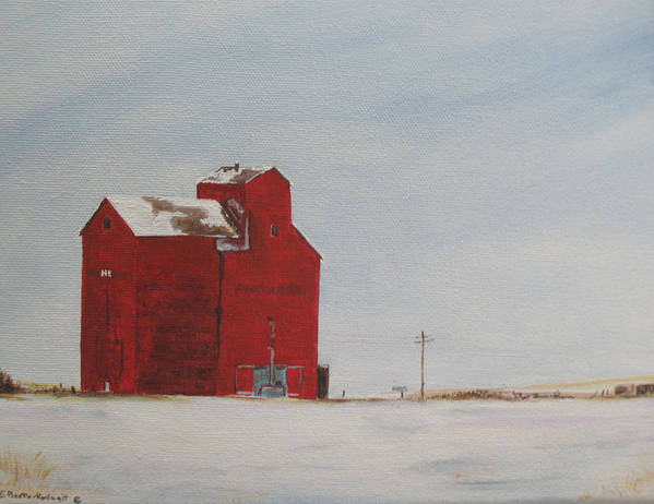Grain Elevators Art Print featuring the painting Prairie Giants I by Elaine Booth-Kallweit