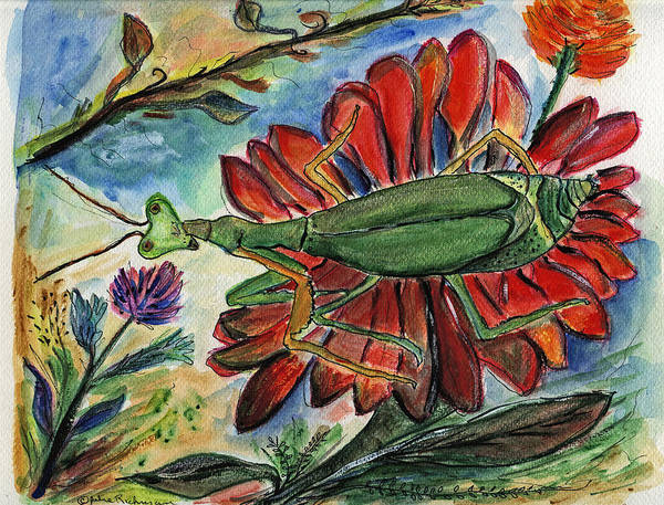 Insects Art Print featuring the painting Praying Mantis Welcome - Closeup by Julie Richman