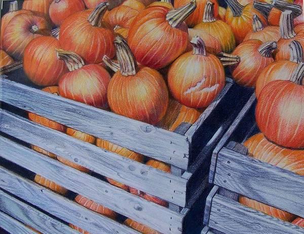 Pumpkins Art Print featuring the painting Pumpkins Two by Constance Drescher