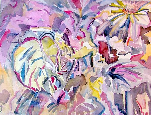 Abstract Art Print featuring the painting Purple Maze by Mindy Newman