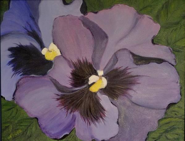 Flower Art Print featuring the painting Purple Pansies by Nancy Sisco