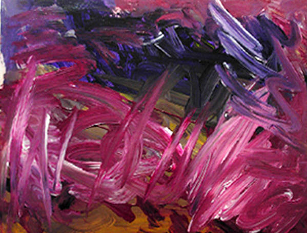 Abstract Art Print featuring the painting Purple Power by Kitty Hansen