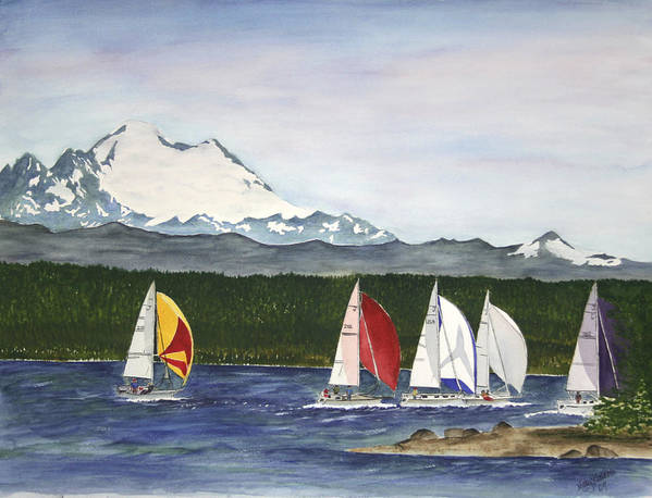 Sailboats Art Print featuring the painting Race Week On Whidbey Island by Mary Gaines