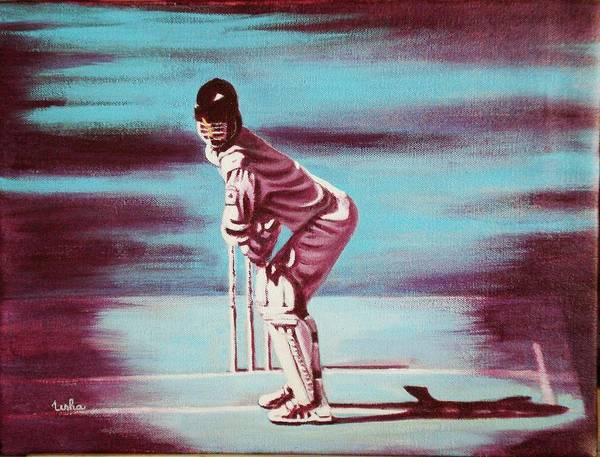 Art Print featuring the painting Ready To Bat by Usha Shantharam