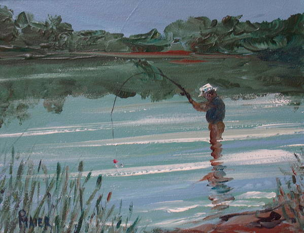 Fishin Art Print featuring the painting Red Bobber by Pete Maier