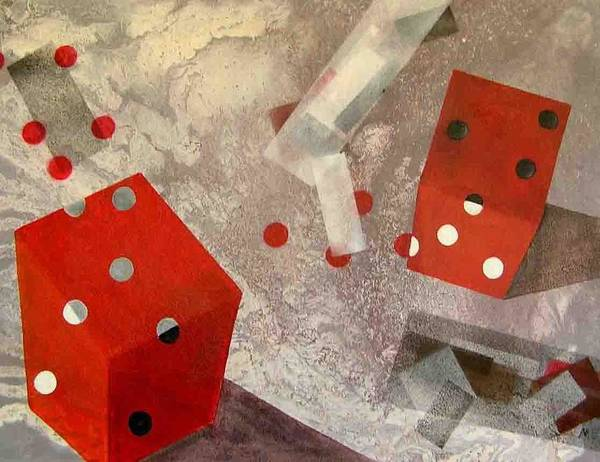 Art Print featuring the painting Red Dice by Evguenia Men