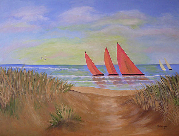 Sails Art Print featuring the painting Red Sails by Barbara Harper