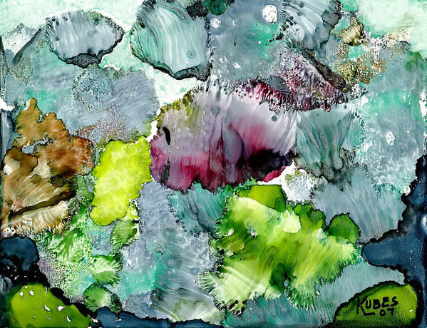 Reef Art Print featuring the painting Reef 4 by Susan Kubes