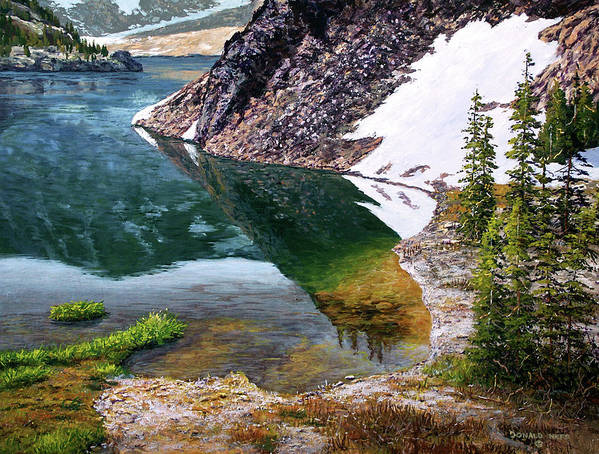 Ellery Lake Art Print featuring the painting Reflections In Ellery by Donald Neff