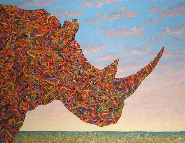 Rhino Art Print featuring the painting Rhino-shape by James W Johnson