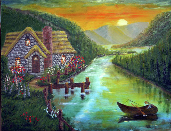 River Art Print featuring the painting River Cottage by Arno Clabaugh