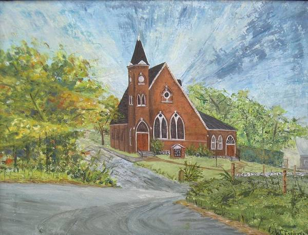 Church Art Print featuring the painting Riverton Church by Judith Espinoza