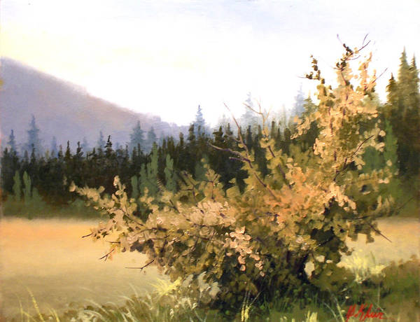 Landscape Art Print featuring the painting Roadside Apple Tree by Dalas Klein