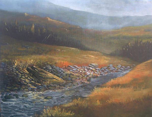 Landscape Art Print featuring the painting Run Right Through by Curt Curt