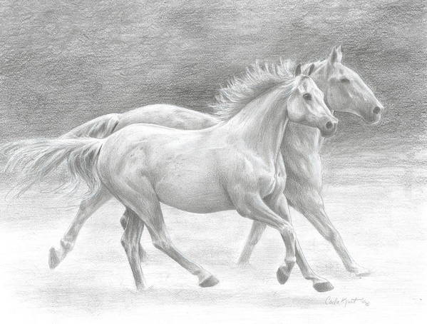 Horses Art Print featuring the drawing Running Free by Carla Kurt