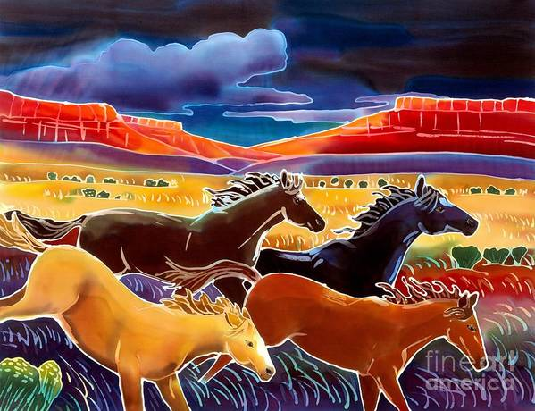 Horses Art Print featuring the painting Running The Open Range by Harriet Peck Taylor