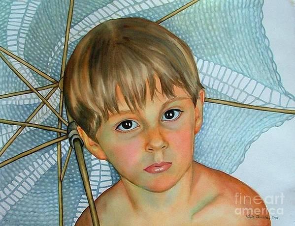 Portrait Art Print featuring the painting Sammy by Gail Zavala