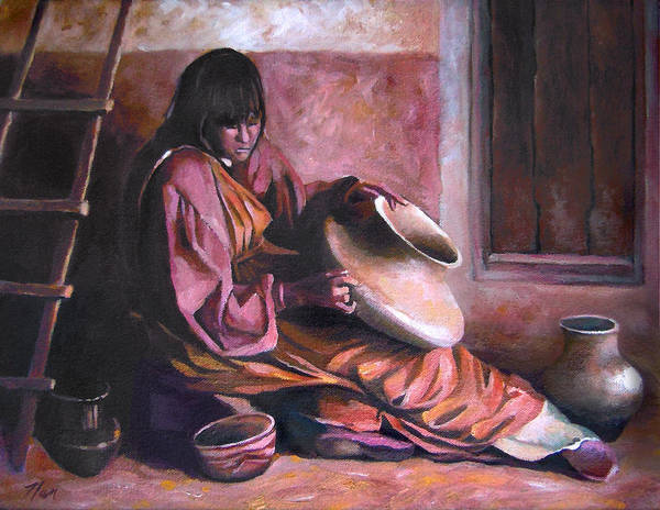 Native American Art Print featuring the painting Santa Clara Potter by Nancy Griswold