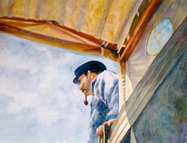 Sea Art Print featuring the painting Sea Captain by Wendy Hill