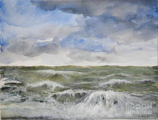 Seascape. Coast Art Print featuring the painting Sea Storm by Sibby S