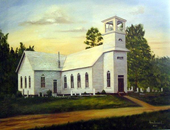 Church Art Print featuring the painting Seaford Zion Methodist Church by Anne Kushnick