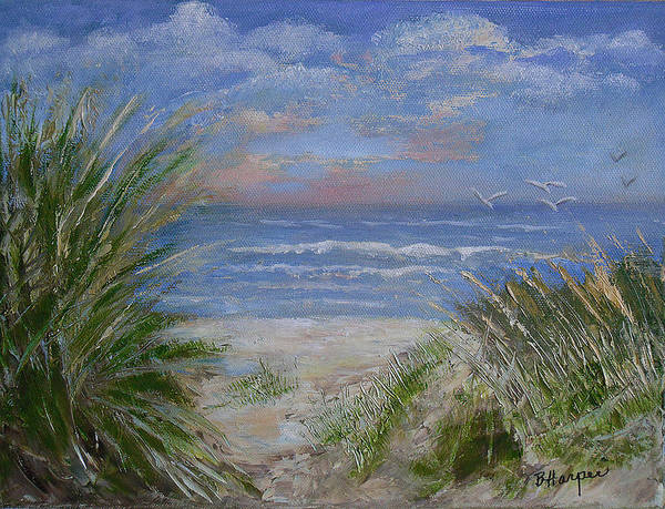 Seagrasses Art Print featuring the painting Seagrasses At Sunrise by Barbara Harper